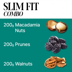 SLIM FIT COMBO I  200g Macadamia Nuts I 200g Dried Prunes I 200g Walnuts I Luxury nuts and  dried fruits ABI